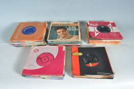 MIXED GROUP OF 90+ 45 RPM SINGLES AND EP'S SOME WITH PICTURE SELEVES