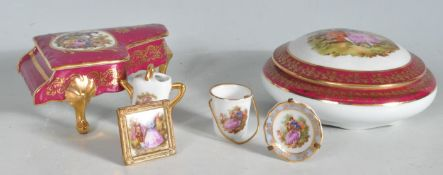 MEISSEN LIMOGES FRENCH CERAMIC CABINET WARE