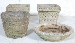 COLLECTION OF 20TH CENTURY COMPOSITED PLANT POTS