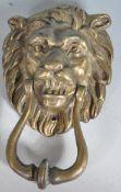 VICTORIAN ANTIQUE STYLE BRASS LION HEAD DOOR KNOCKER