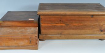 ANTIQUE VICTORIAN 19TH CENTURY WALNUT WRITING SLOPE TOGETHER WITH A PINE TOOLBOX