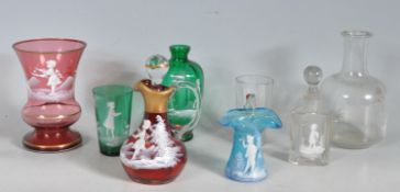 COLLECTION OF EARLY 20TH CENTURY MARY GREGORY STYLE GLASS
