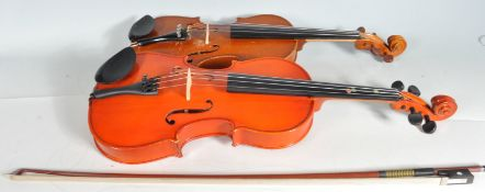 TWO CONTEMPORARY VIOLIN MUSICAL INSTRUMENTS