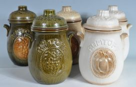 FIVE WEST GERMAN RUMTOPF LIDDED JARS