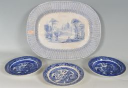 TWO 19TH CENTURY VICTORIAN BLUE AND WHITE ASHWORTH BROS SOUP PLATES