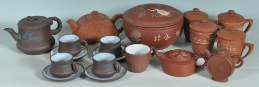 TWO CHINESE ORIENTAL TERRACOTTA TEA SET