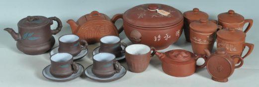 TWO CHINESE ORIENTAL TERRACOTTA TEA SET