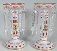 TWO CRANBERRY GLASS LUSTRES