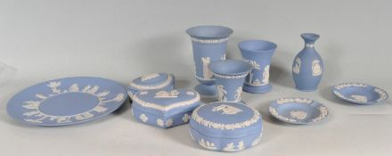 COLLECTION OF BLUE WEDGWOOD JASPERWARE