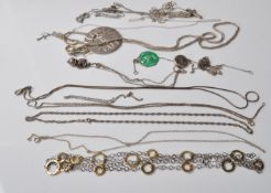 COLLECTION OF STAMPED 925 SILVER CHAIN NECKLACES AND PENDANTS.