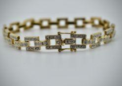 9ct Yellow Gold & Diamond Hallmarked London Bracelet