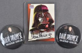 ESTATE OF DAVE PROWSE - AUTOGRAPHED TRADING CARD & OFFICIAL BADGES