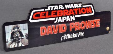 ESTATE OF DAVE PROWSE - ORIGINAL STAR WARS CELEBRATION NAME PLAQUE