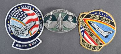 ESTATE OF DAVE PROWSE - SPACE TRAVEL - CHALLENGER BUCKLE & PATCHES