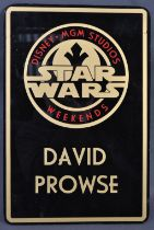ESTATE OF DAVE PROWSE - MR PROWSE'S PERSONAL DISNEY WEEKENDS PLAQUE