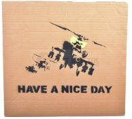 BANKSY - DISMALAND 2015 - HAPPY CHOPPERS HAVE A NICE DAY