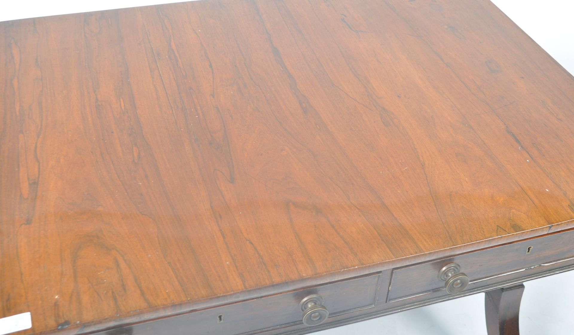 ANTIQUE ROSEWOOD REGENCY SOFA TABLE RETAILED BY HARRIS OF LONDON - Image 4 of 10