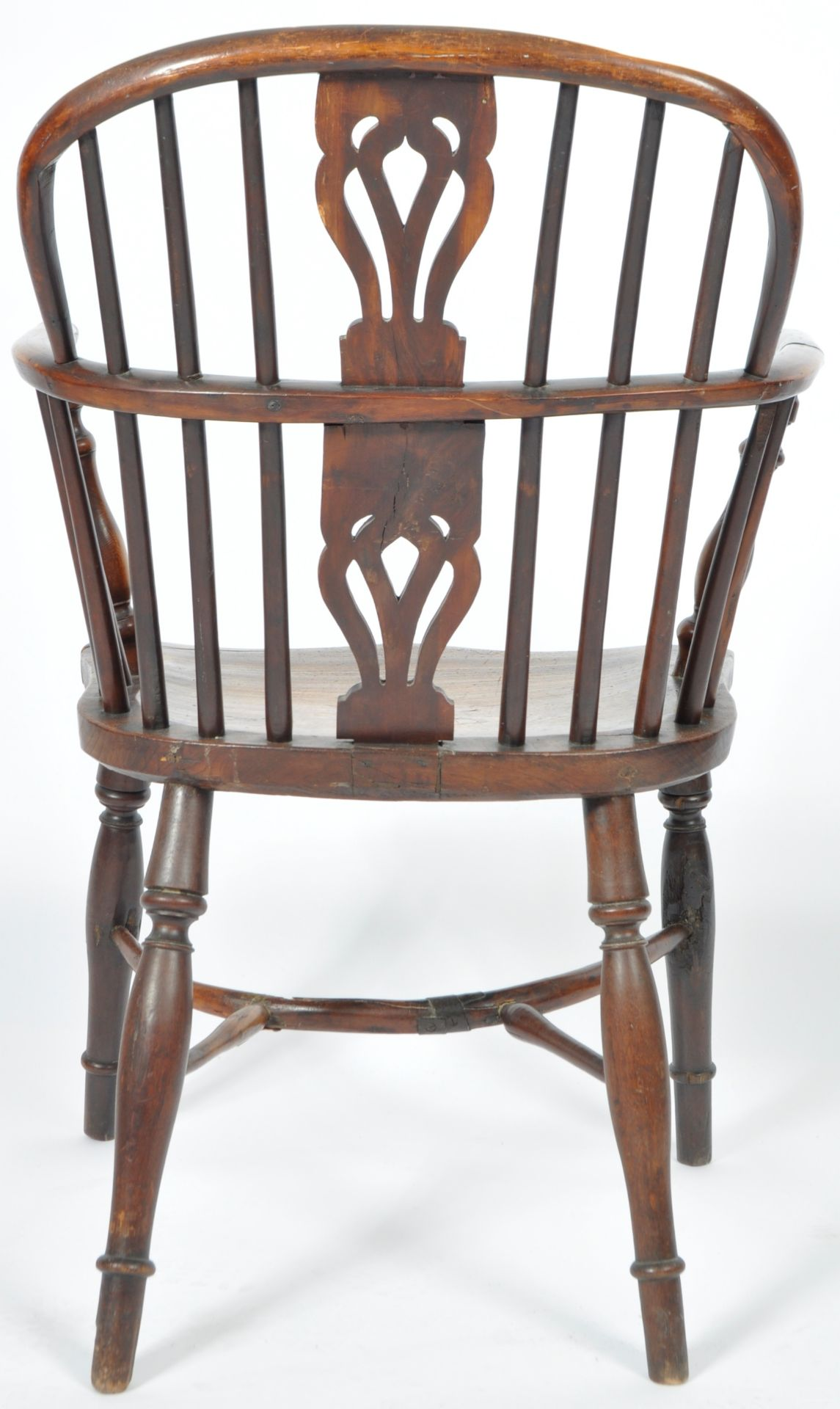 ANTIQUE GEORGIAN YEW AND ELM CRINOLINE WINDSOR ARMCHAIR - Image 7 of 9