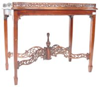 20TH CENTURY CHINESE CHIPPENDALE REVIVAL MAHOGANY SILVER TABLE