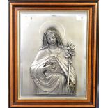 VINTAGE 20TH CENTURY WMF RELIEF PANEL OF MARY OF THE SACRED HEART