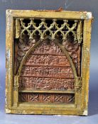 ANTIQUE 19TH CENTURY CHRISTIAN ART CARVED RELIQUARY PANEL