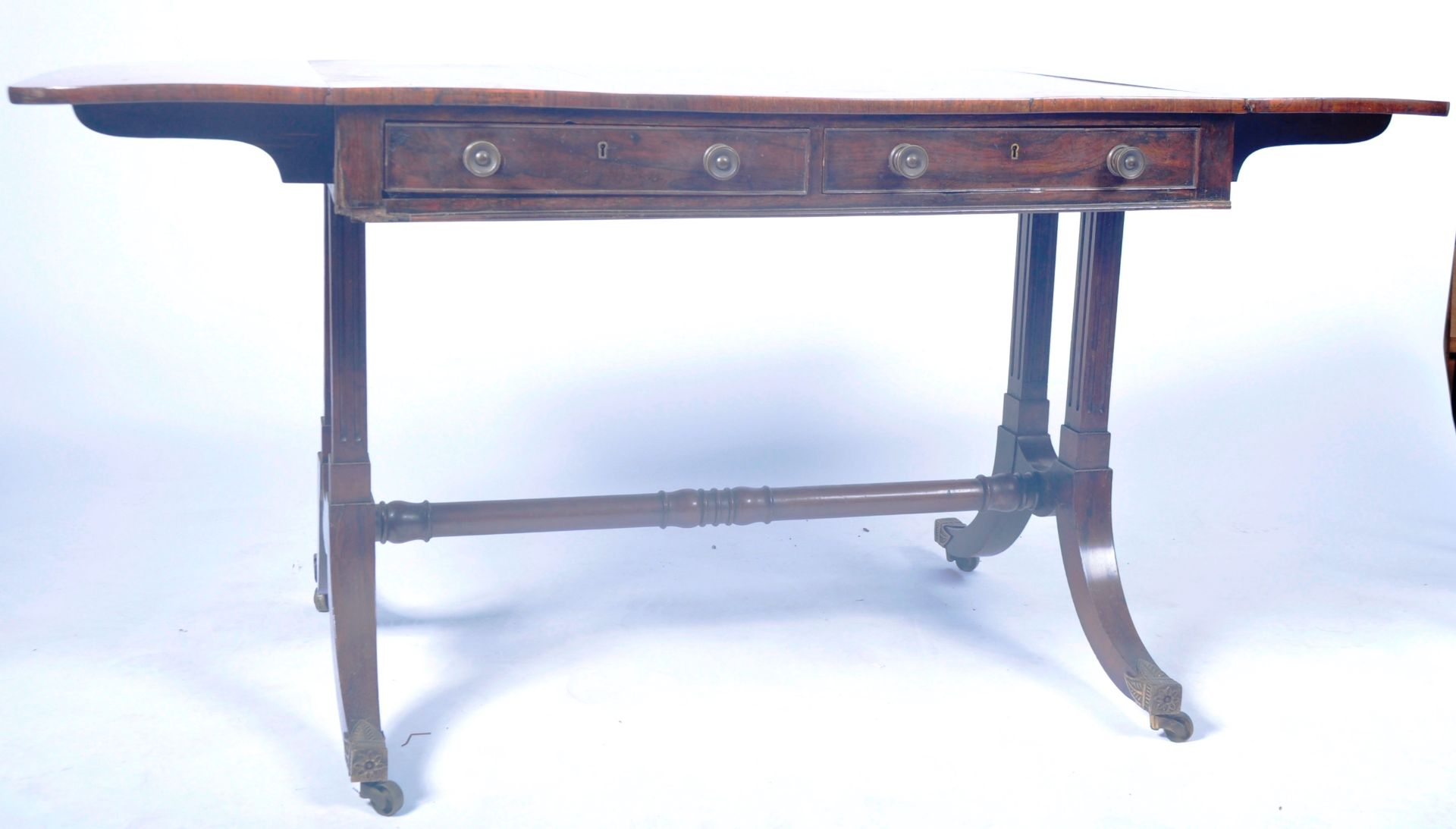 ANTIQUE ROSEWOOD REGENCY SOFA TABLE RETAILED BY HARRIS OF LONDON - Image 7 of 10