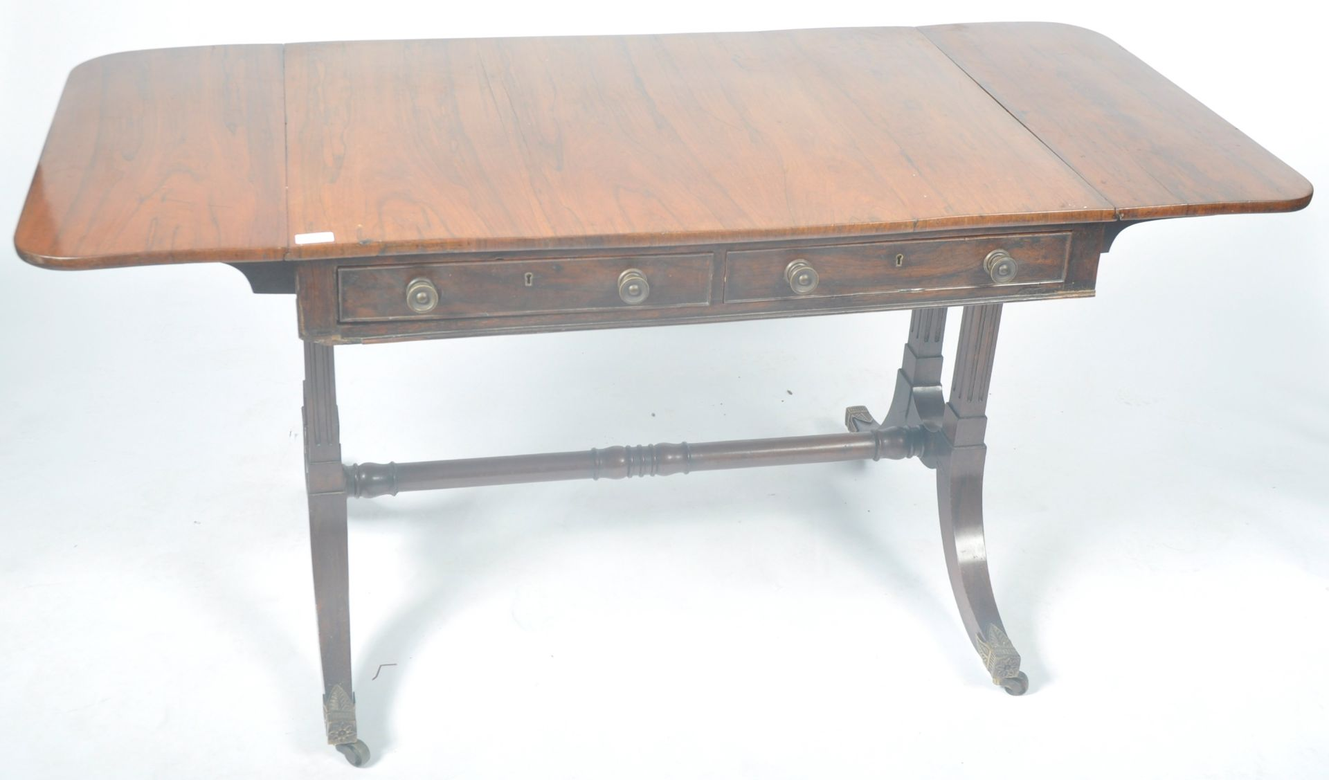 ANTIQUE ROSEWOOD REGENCY SOFA TABLE RETAILED BY HARRIS OF LONDON - Image 8 of 10