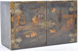 ANTIQUE EARLY 19TH CENTURY CHINESE BLACK LACQUER CABINET