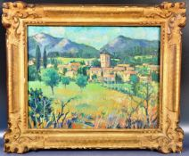 ATTRIBUTED TO WINSTON CHURCHILL - OIL ON CANVAS PAINTING SOUTHERN FRANCE