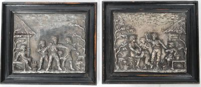 CHARLES ANFRIE - PAIR OF 19TH CENTURY TABLEAU SILVERPLATED COPPER PANELS