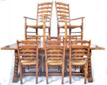 LARGE AND IMPRESSIVE OAK REFECTORY TABLE & CHAIRS DINING SUITE
