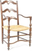 ANTIQUE 18TH CENTURY GEORGIAN COUNTRY HOUSE LADDER BACK CHAIR