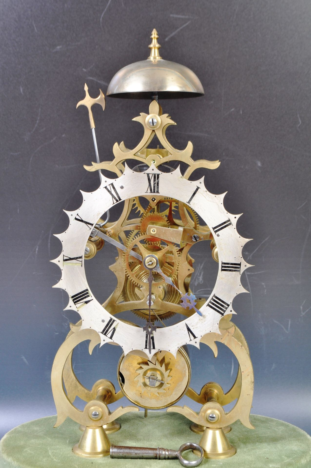 ANTIQUE MID 19TH CENTURY GOTHIC BRASS SKELETON CLOCK IN GLASS DOME - Image 3 of 13