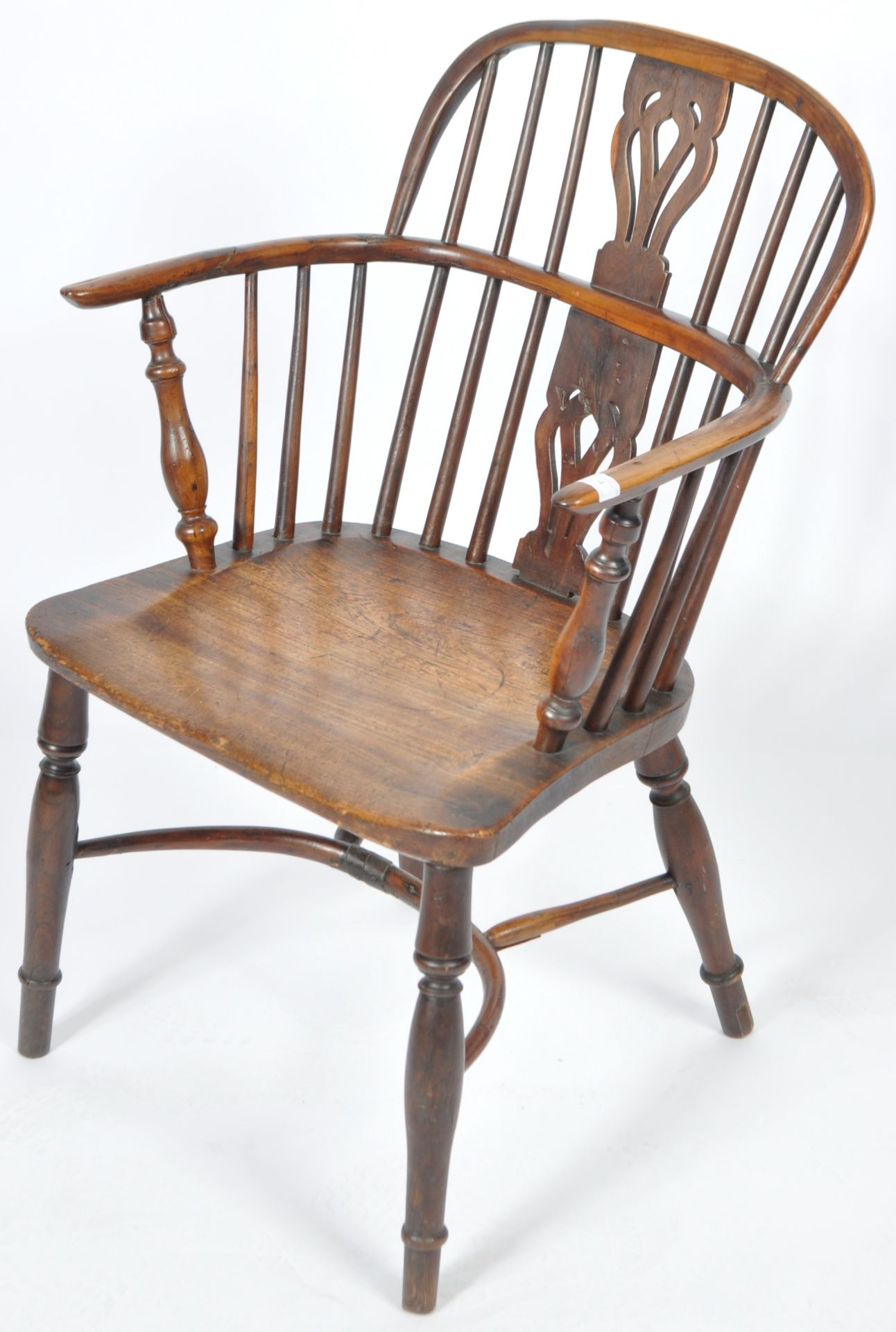 ANTIQUE GEORGIAN YEW AND ELM CRINOLINE WINDSOR ARMCHAIR - Image 3 of 9