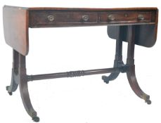 ANTIQUE ROSEWOOD REGENCY SOFA TABLE RETAILED BY HARRIS OF LONDON