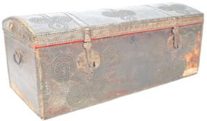 17TH CENTURY SPANISH LEATHER STUDDED DOMED CHEST