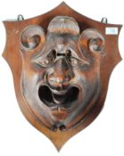 ANTIQUE 19TH CENTURY CARVED GROTESQUE FACE MASK