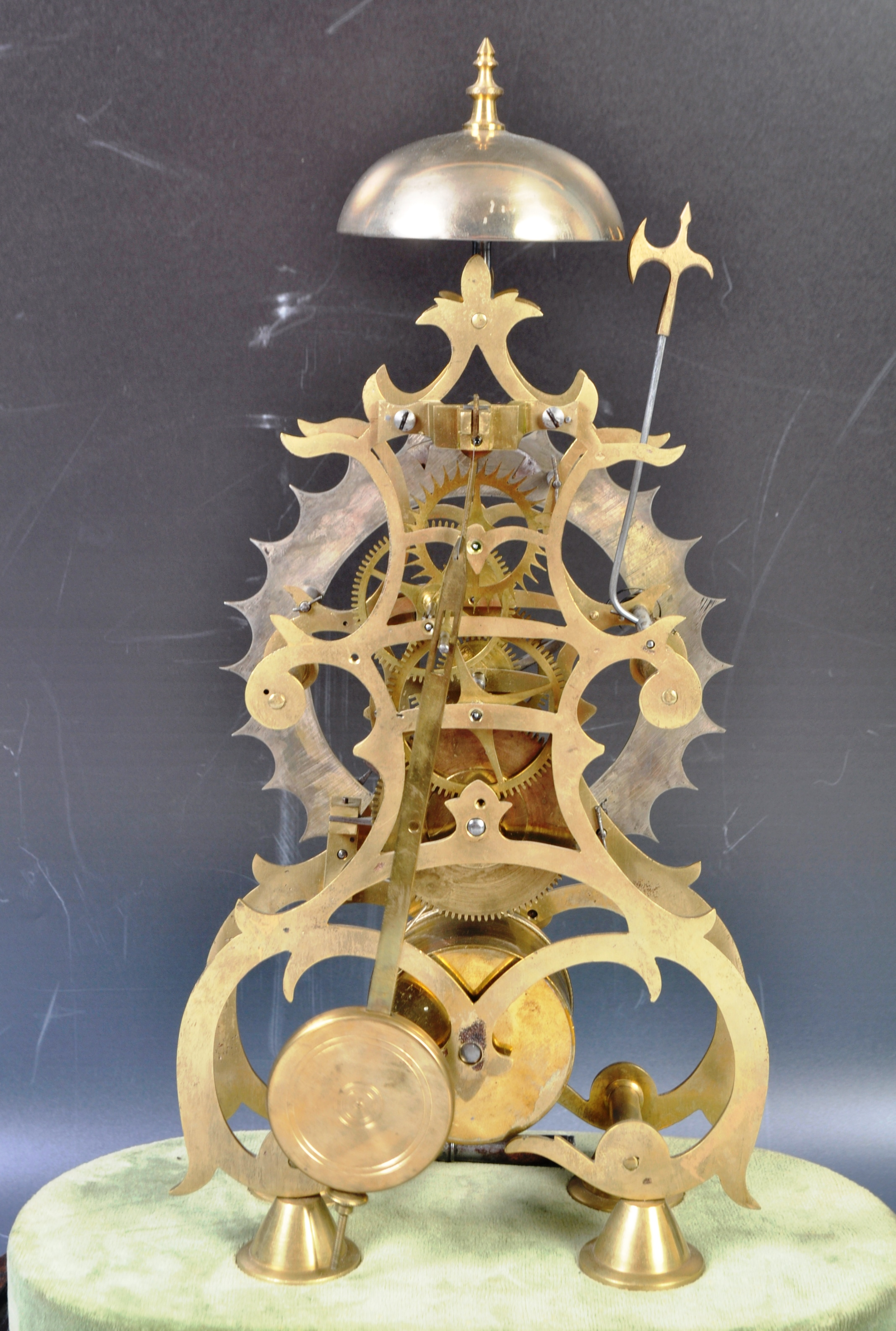 ANTIQUE MID 19TH CENTURY GOTHIC BRASS SKELETON CLOCK IN GLASS DOME - Image 11 of 13