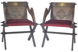 ATTRIBUTED TO AW PUGIN - PAIR OF OAK GOTHIC GLASTONBURY CHAIRS