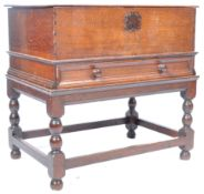 ANTIQUE 17TH CENTURY OAK BIBLE BOX ON STAND