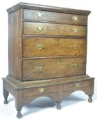 ANTIQUE 17TH/18TH CENTURY FRUITWOOD CHEST ON STAND
