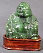 20TH CENTURY CHINESE SPINACH GREEN NEPHRITE JADE BUDDHA FIGURINE