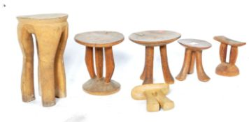 COLLECTION OF ANTIQUE AFRICAN TRIBAL STOOLS / HEADRESTS