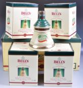 SET OF FOUR BELLS WHISKY 1998 CHRISTMAS DECANTERS