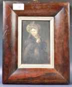 ANTIQUE 19TH CENTURY OIL PORTRAIT IN ROSEWOOD CUSHION FRAME