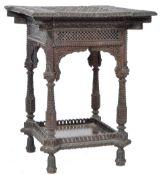 ANTIQUE CARVED ANGLO BURMESE / INDIAN CARVED HARDWOOD SIDE TABLE