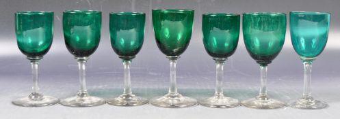 ANTIQUE GEORGIAN BRISTOL GREEN WINE GLASSES