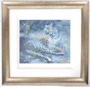 ROLF HARRIS - LEOPARD RECLINING AT DUSK - SIGNED PRINT