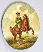 ANTIQUE 18TH CENTURY OIL PORTRAIT OF A MAN ON HORSEBACK