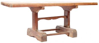 ANTIQUE GEORGIAN OAK LOW TAVERN TABLE ON TRESTLE TYPE BASE